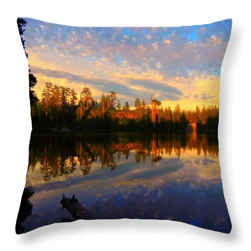 Long Lake Throw Pillow featuring the photograph Cotton Candy Sky by Leah Moore