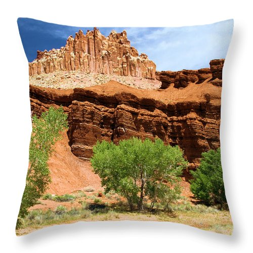 The Castle At Capitol Reef Throw Pillow featuring the photograph Cottonwood Castle by Adam Jewell