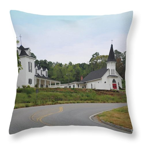 Church Throw Pillow featuring the photograph Country Church In Texture by Jost Houk