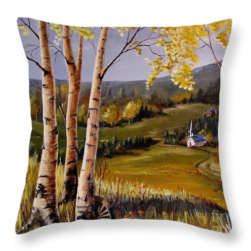 Country Church Throw Pillow featuring the painting Country Church by Marilyn Smith