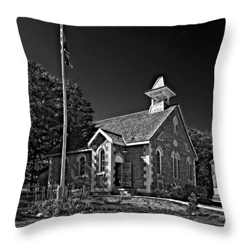 Grey Roots Museum & Archives Throw Pillow featuring the photograph Country Church Monochrome by Steve Harrington