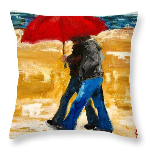 Couple Walking Under A Red Umbrella At The Beach Throw Pillow featuring the painting Couple Under A Red Umbrella by Patricia Awapara