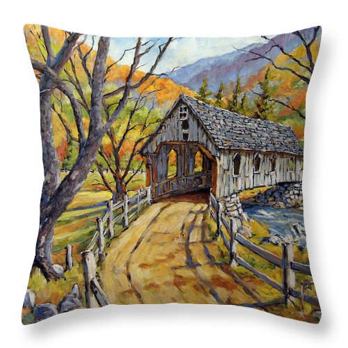 Art Throw Pillow featuring the painting Covered Bridge 04 by Richard T Pranke