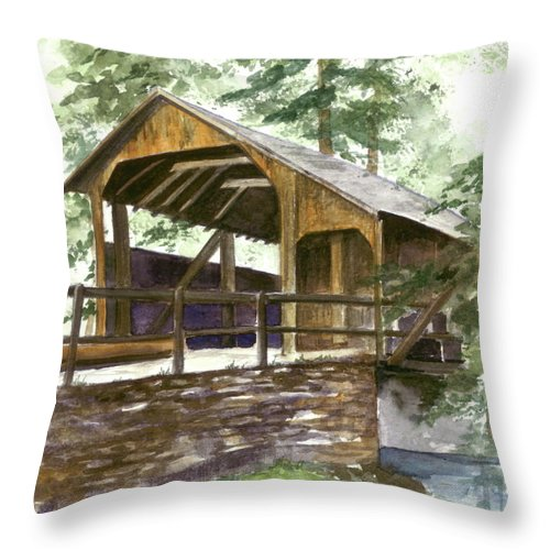 Covered Bridge Throw Pillow featuring the painting Covered Bridge At Knoebels by Nancy Patterson