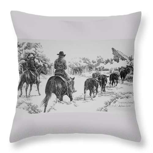 Cowgirl Art Throw Pillow featuring the drawing Cowgirls Are Cowboys Too by Virgil Stephens