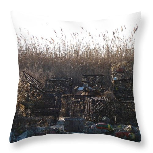 Crab Traps Throw Pillow featuring the photograph Crab Traps by Nancy Patterson