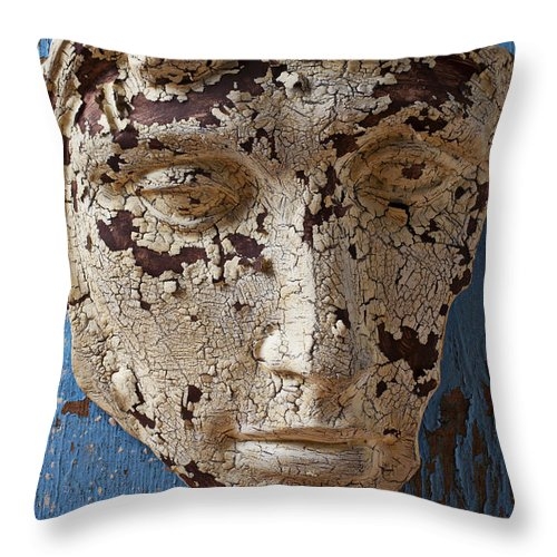 Face Throw Pillow featuring the photograph Cracked Face On Blue Wall by Garry Gay