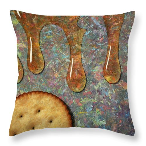 Cracker Throw Pillow featuring the painting Cracker Honey by James W Johnson