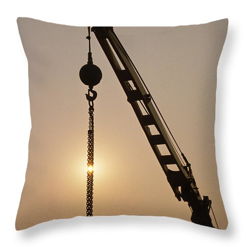 Sun Throw Pillow featuring the photograph Crane At Rest by Stephen Estell
