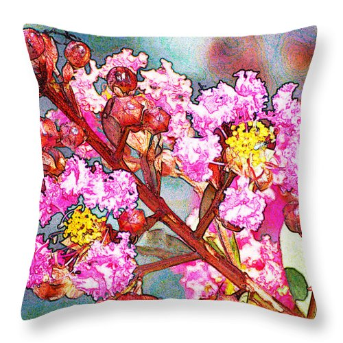 Nature Throw Pillow featuring the digital art Crape Myrtle Photoart by Debbie Portwood