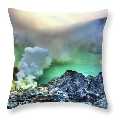 Volcano Throw Pillow featuring the photograph Crater Ijen by MotHaiBaPhoto Prints