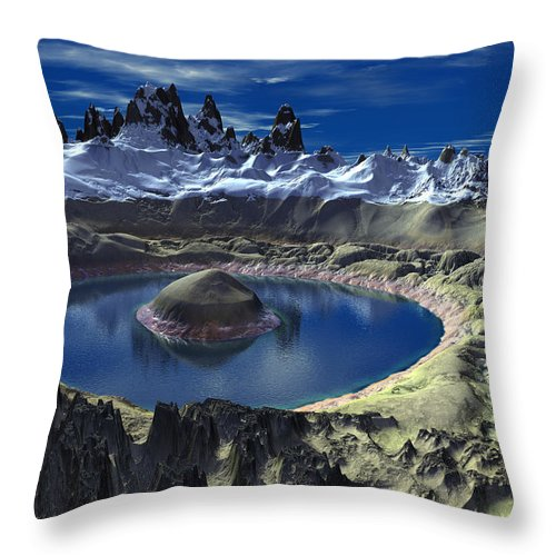 Crater Throw Pillow featuring the digital art Crater Lake by Heinz G Mielke