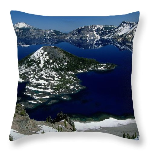 Crater Lake Throw Pillow featuring the photograph Crater Lake National Park, Oregon by Raymond Gehman