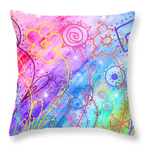Watercolor Throw Pillow featuring the painting Crazy Flower Garden by Debbie Portwood