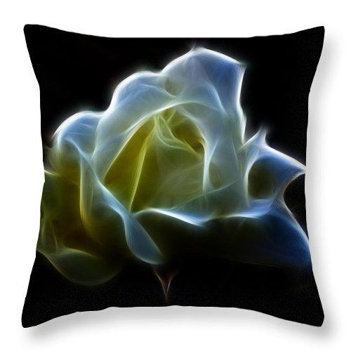 Rose Throw Pillow featuring the photograph Cream Rose by Lynn Bolt