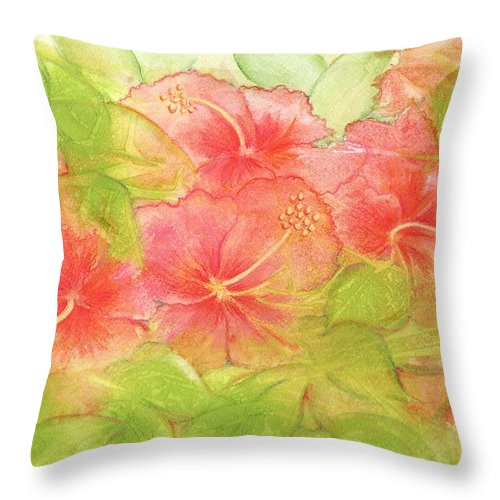 Hibiscus Throw Pillow featuring the painting Creamsicle Hibiscus by Carla Parris
