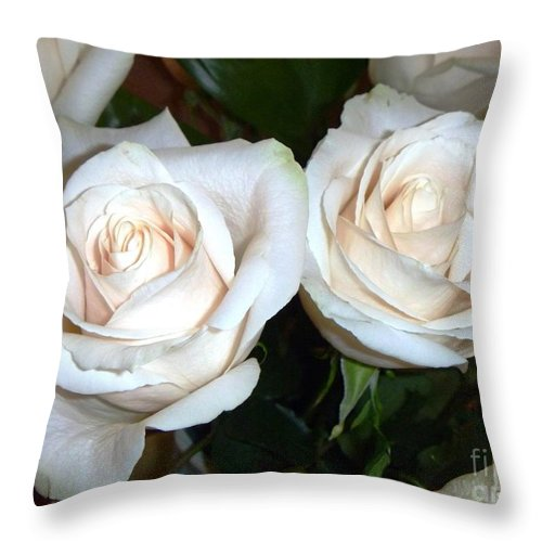 Creamy Throw Pillow featuring the photograph Creamy Roses I by Alys Caviness-Gober