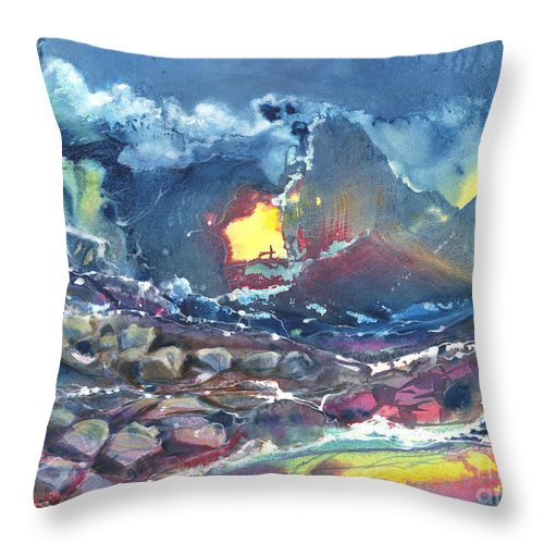 Creation Throw Pillow featuring the painting Creation by Audrey Peaty