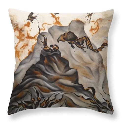 Rust Throw Pillow featuring the drawing Creation by Heather Crowther