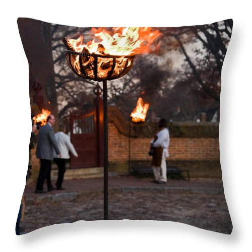 Cressets Burning Throw Pillow featuring the photograph Cressets Light The Way by Sally Weigand