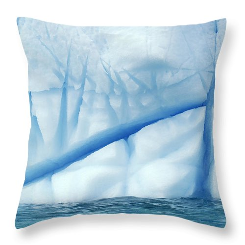 Mp Throw Pillow featuring the photograph Crevasses Created By The Melting by Jan Vermeer