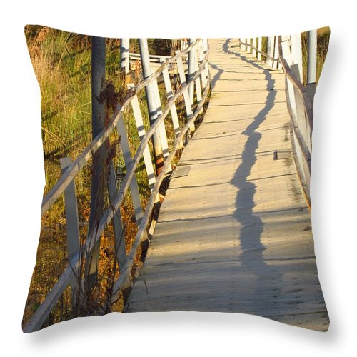 Bridge Throw Pillow featuring the photograph Crooked Bridge by Rrrose Pix