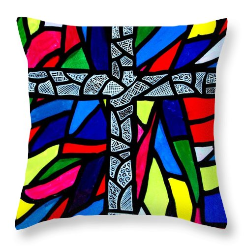 Cross Throw Pillow featuring the painting Cross No 9 by Jim Harris