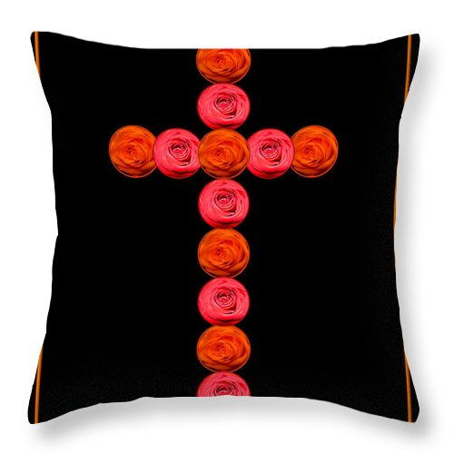 Cross Throw Pillow featuring the photograph Cross Of Red And Orange Roses by Rose Santuci-Sofranko