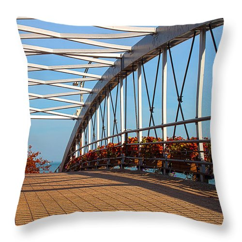Bridge Throw Pillow featuring the photograph Crossing The Bridge by Milena Ilieva