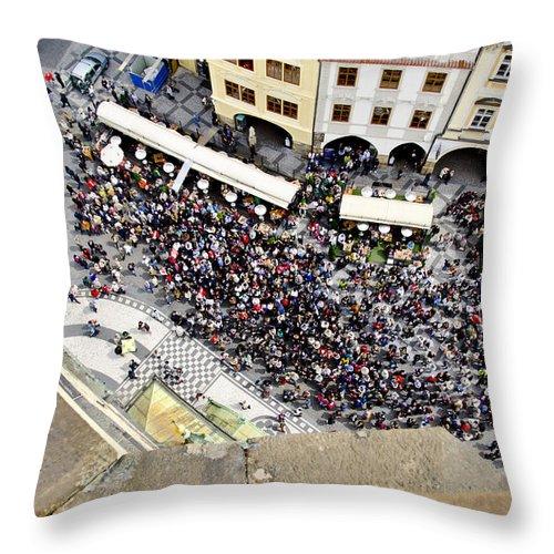 Prague Throw Pillow featuring the photograph Crowd Forms At Clock Tower - Prague by Jon Berghoff