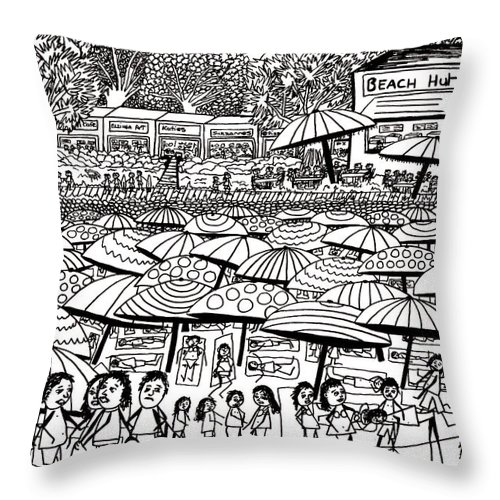 Beach Throw Pillow featuring the drawing Crowded Beach Black And White by Karen Elzinga