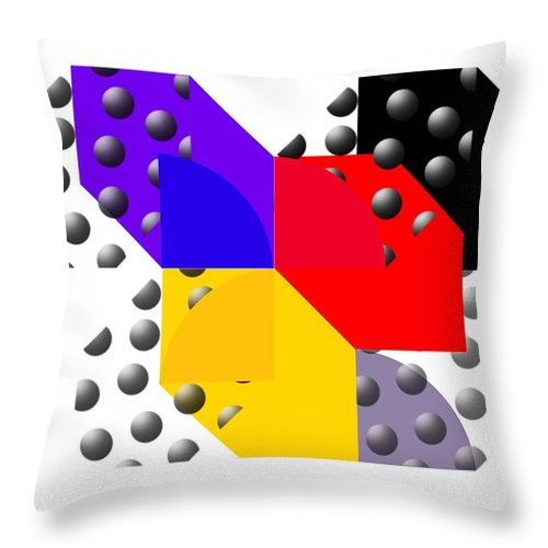 Halftone Throw Pillow featuring the painting Cruella De Stijl by Charles Stuart
