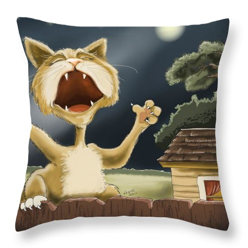 Cat Illustrations Throw Pillow featuring the painting Cry Baby by Hank Nunes