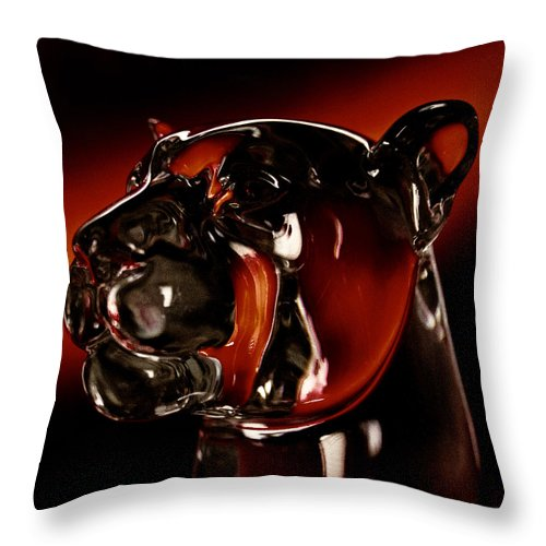 Washington State University Throw Pillow featuring the photograph Crystal Cougar Head II by David Patterson