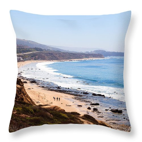 America Throw Pillow featuring the photograph Crystal Cove Orange County California by Paul Velgos