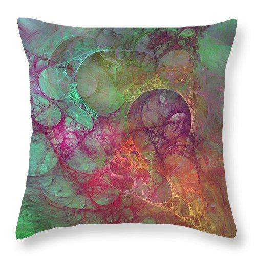 Fractal Throw Pillow featuring the digital art Crystal Ocean by Betsy Knapp