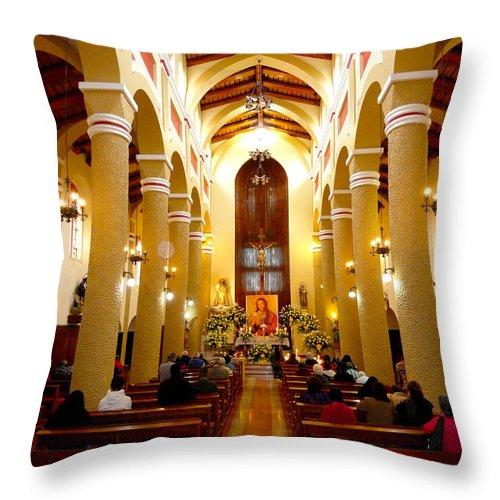 Al Bourassa Throw Pillow featuring the photograph Cuenca Ecuador Church Interior by Al Bourassa