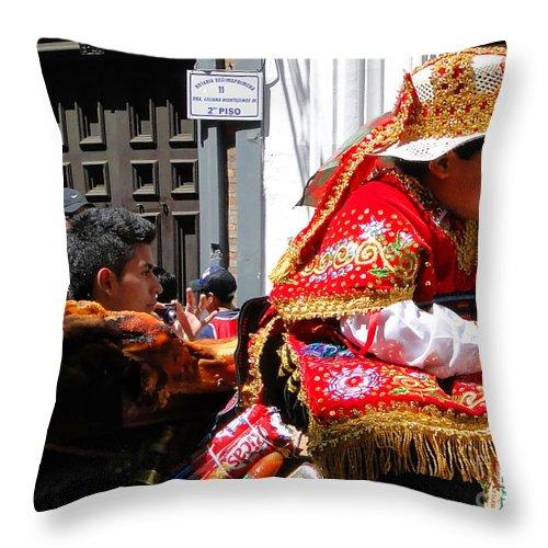 Al Bourassa Throw Pillow featuring the photograph Cuenca Kids 172 by Al Bourassa
