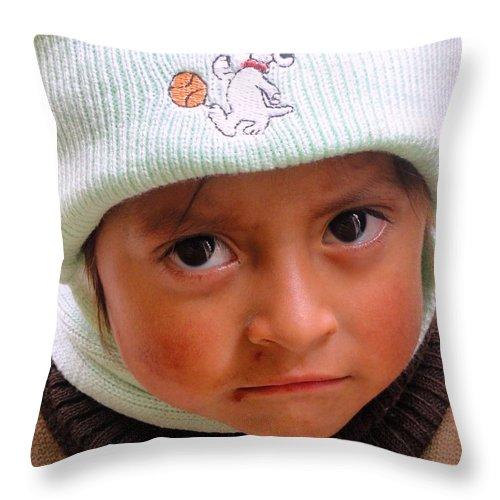 Al Bourassa Throw Pillow featuring the photograph Cuenca Kids 173 by Al Bourassa