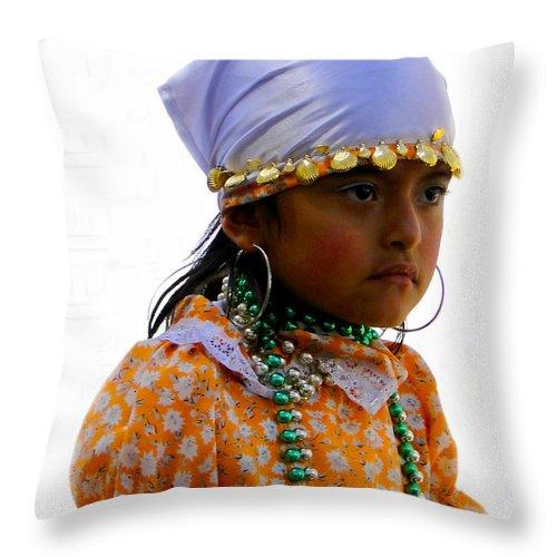 Kids Throw Pillow featuring the photograph Cuenca Kids 199 by Al Bourassa