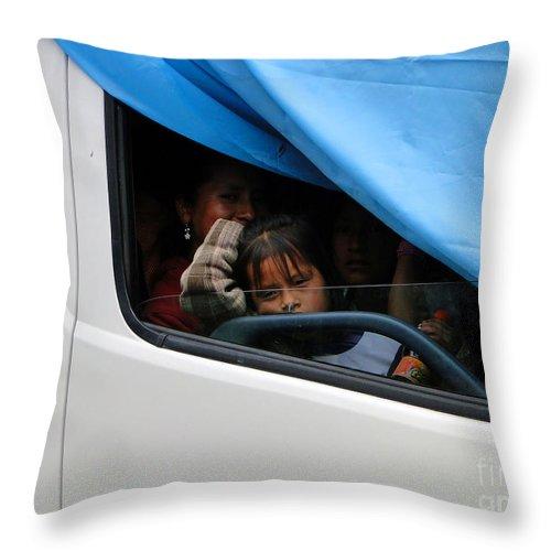 Al Bourassa Throw Pillow featuring the photograph Cuenca Kids 32 by Al Bourassa