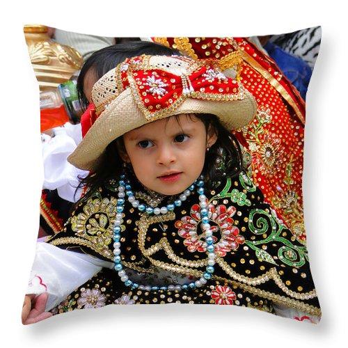 Al Bourassa Throw Pillow featuring the photograph Cuenca Kids 33 by Al Bourassa