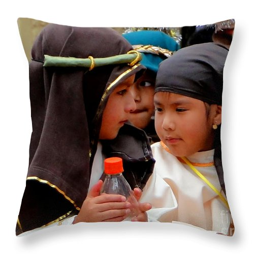 Al Bourassa Throw Pillow featuring the photograph Cuenca Kids 37 by Al Bourassa