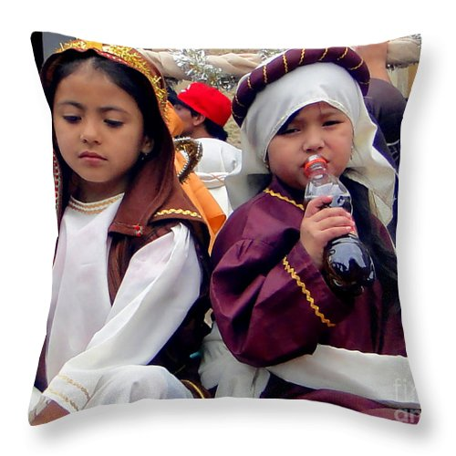 Al Bourassa Throw Pillow featuring the photograph Cuenca Kids 38 by Al Bourassa