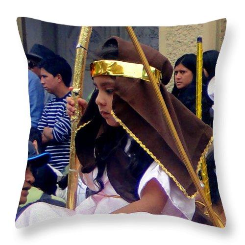 Al Bourassa Throw Pillow featuring the photograph Cuenca Kids 39 by Al Bourassa