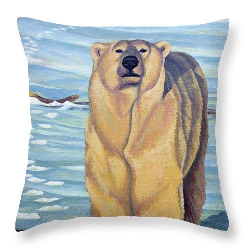 Polar Bear Throw Pillow featuring the painting Curiosity - Polar Bear Painting by Kim Hunter
