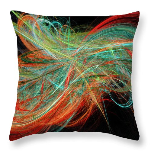 3d Throw Pillow featuring the digital art Curls by Andee Design