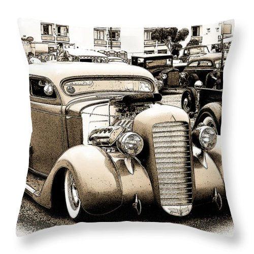 1935 Plymouth Coupe Throw Pillow featuring the photograph Custom 36 Dodge by Steve McKinzie