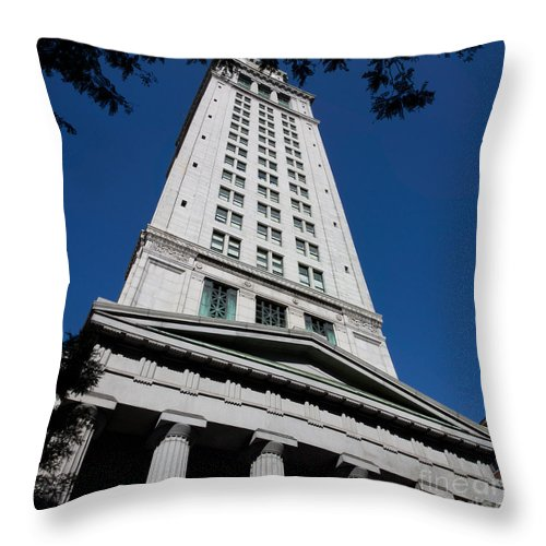 Architecture Throw Pillow featuring the photograph Custom House Boston by Thomas Marchessault