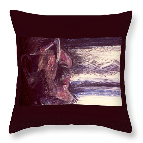 Dad Throw Pillow featuring the mixed media Dad Driving by Carrie Maurer